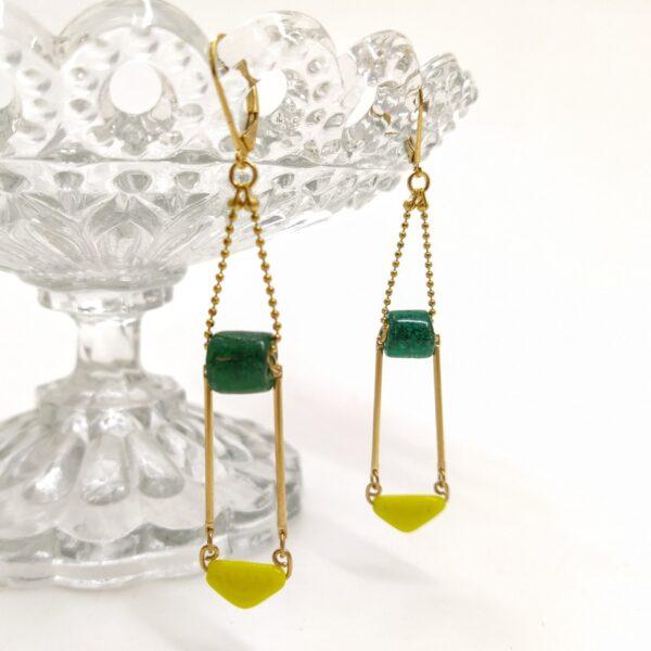 Dormeuses composée de perles de verre des années 1930. 100 ans plus tard  elles sont toujours aussi éclatantes !